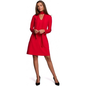 Oblečenie Ženy Krátke šaty Style S233 Šaty so šifónovou šatkou - červené