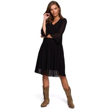 Oblečenie Ženy Krátke šaty Style S236 Jednoduché šifónové šaty - tmavomodré