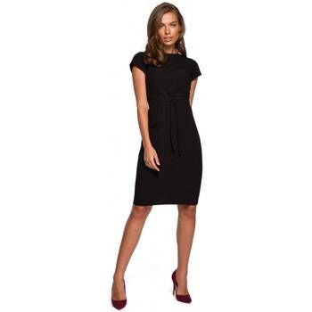Oblečenie Ženy Krátke šaty Style S239 Ceruzkové šaty s opaskom na zaväzovanie - zelené