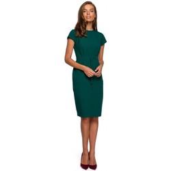 Oblečenie Ženy Krátke šaty Style S239 Ceruzkové šaty s opaskom na zaväzovanie - tmavomodré