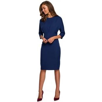 Oblečenie Ženy Krátke šaty Style S242 Šaty s netopierími rukávmi - tmavomodré