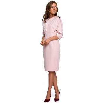 Oblečenie Ženy Krátke šaty Style S242 Šaty s netopierími rukávmi - púdrové