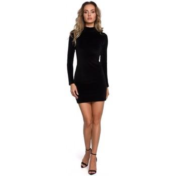 Oblečenie Ženy Krátke šaty Moe M558 Zamatové mini šaty s rolákom - čierne