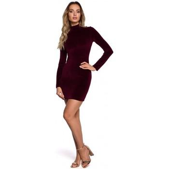 Oblečenie Ženy Krátke šaty Moe M558 Zamatové mini šaty s rolákom - bordové