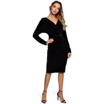 Oblečenie Ženy Krátke šaty Moe M561 Zamatové zavinovacie šaty - čierne