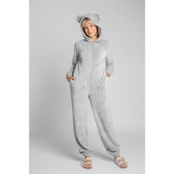 Oblečenie Ženy Módne overaly Lalupa LA006 Fluffy Knit Onepiece Onesie - svetlo šedá