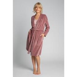 Oblečenie Ženy Pyžamá a nočné košele Lalupa LA009 Zamatový župan s opaskom na zaväzovanie - krepová ružová