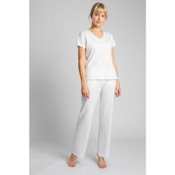 Oblečenie Ženy Tričká s krátkym rukávom Lalupa LA014 Bavlnený top s výstrihom do V - ecru