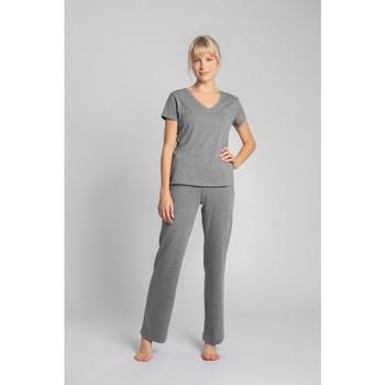 Oblečenie Ženy Tričká s krátkym rukávom Lalupa LA014 Bavlnený top s výstrihom do V - sivý