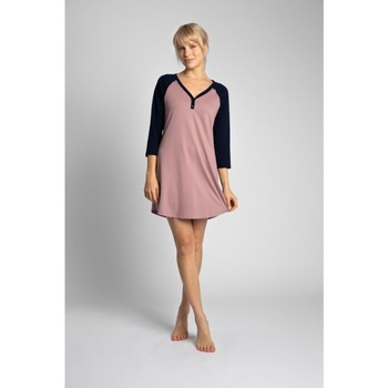 Oblečenie Ženy Krátke šaty Lalupa LA018 Bavlnená farebná košeľa na spanie - tmavomodrá