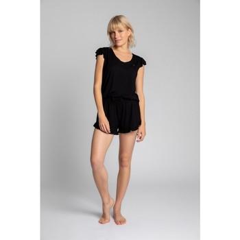 Oblečenie Ženy Blúzky Lalupa LA023 Viskózový top s volánmi bez rukávov - čierny