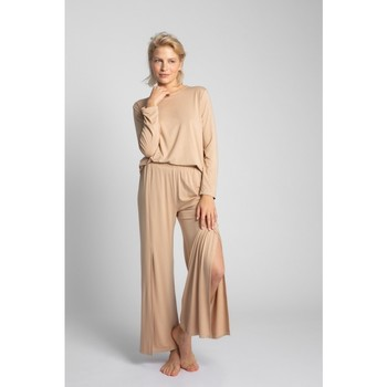 Oblečenie Ženy Pyžamá a nočné košele Lalupa LA026 Viskózové nohavice s vysokým rozparkom - cappuccino