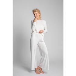 Oblečenie Ženy Pyžamá a nočné košele Lalupa LA026 Viskózové nohavice s vysokými rozparky - ecru