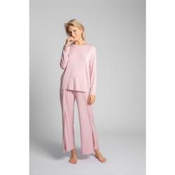 Oblečenie Ženy Blúzky Lalupa LA027 Viskózový dlhý rukáv s otvoreným chrbtom - ružový