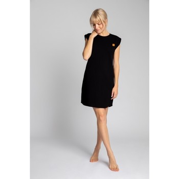 Oblečenie Ženy Krátke šaty Lalupa LA033 Rebrované bavlnené šaty na spanie - čierne
