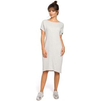 Oblečenie Ženy Šaty Be B050 Midi šaty s vreckami vo šve - svetlosivé