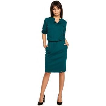 Oblečenie Ženy Krátke šaty Be B056 Košeľové pletené šaty - zelené