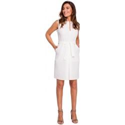 Oblečenie Ženy Krátke šaty Style S158 Plášťové šaty bez rukávov s predným záhybom - ecru