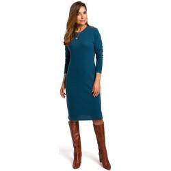Oblečenie Ženy Šaty Style S178 Svetrové šaty s dlhým rukávom - oceánsky modré