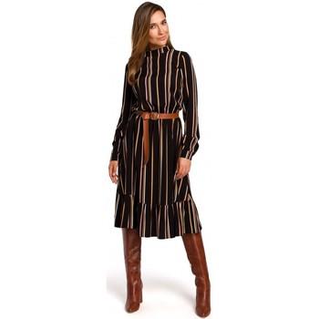 Oblečenie Ženy Krátke šaty Style S182 Pruhované šaty s opaskom s prackou - model 1