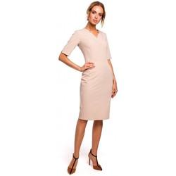 Oblečenie Ženy Šaty Moe M455 Šaty s výstrihom do V - béžové