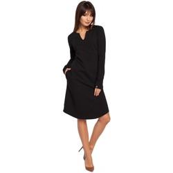 Oblečenie Ženy Šaty Be B017 Šaty s výstrihom - čierne