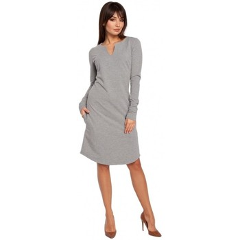 Oblečenie Ženy Šaty Be B017 Šaty s výstrihom - sivé