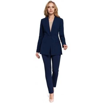 Oblečenie Ženy Oblekové saká Moe M304 Bunda s jedným gombíkom - tmavomodrá