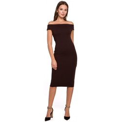 Oblečenie Ženy Krátke šaty Makover K001 Pletené šaty bez ramien - hnedé