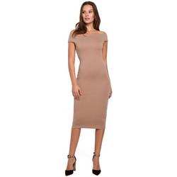Oblečenie Ženy Krátke šaty Makover K001 Pletené šaty na ramenách - béžové