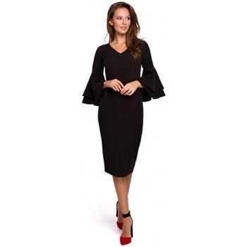 Oblečenie Ženy Krátke šaty Makover K002 Plášťové šaty s volánovými rukávmi - čierne