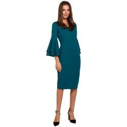Oblečenie Ženy Šaty Makover K002 Plášťové šaty s volánovými rukávmi - oceánsky modré