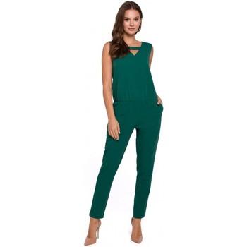 Oblečenie Ženy Módne overaly Makover K009 Jednodielny overal s výstrihom do V - zelený