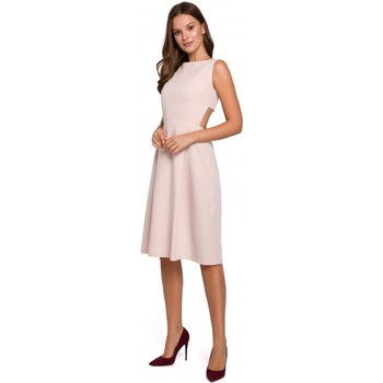 Oblečenie Ženy Krátke šaty Makover K011 Roztiahnuté šaty s otvoreným chrbtom - béžové