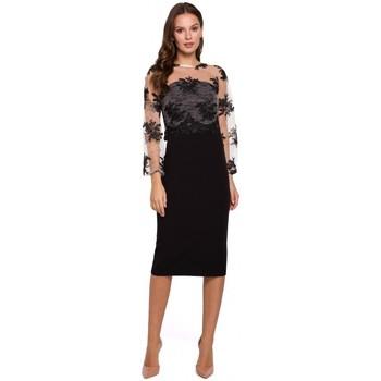 Oblečenie Ženy Krátke šaty Makover K013 Šaty v ceruzke s gipúrovým vrchným dielom - čierne