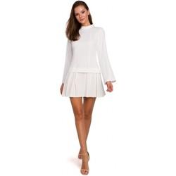Oblečenie Ženy Krátke šaty Makover K021 Mini šaty s vypasovaným spodným lemom - ecru