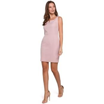 Oblečenie Ženy Šaty Makover K022 Mini šaty so štvorcovým výstrihom - krepová ružová