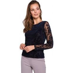 Oblečenie Ženy Blúzky Makover K024 Čipkovaná blúzka Flock - tmavomodrá