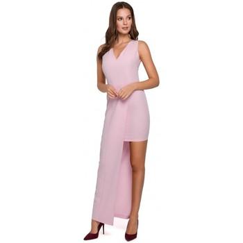 Oblečenie Ženy Šaty Makover K026 Dlhé asymetrické šaty - lila