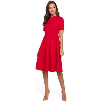 Oblečenie Ženy Šaty Makover K028 Šaty s ohrnutým výstrihom - červené