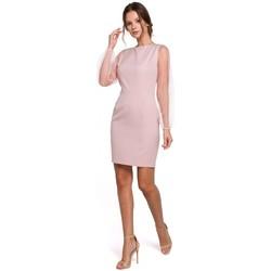Oblečenie Ženy Krátke šaty Makover K032 Mini šaty s tylovými rukávmi - krepové, ružové