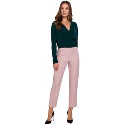 Oblečenie Ženy Nohavice Makover K035 Nohavice s elastickým pásom - krepová ružová