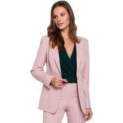 Oblečenie Ženy Oblekové saká Makover K036 Sako s jedným zadočkom - krepovo ružové