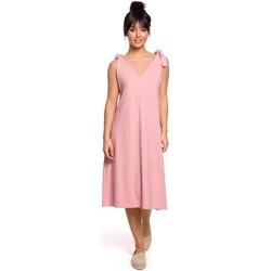 Oblečenie Ženy Krátke šaty Be B148 Trapézové šaty s viazankou - ružové