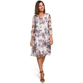 Oblečenie Ženy Šaty Style S214 Šifónové šaty so spadnutým pásom - model 1