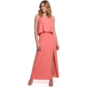 Oblečenie Ženy Šaty Makover K048 Maxi šaty s volánom - oranžové