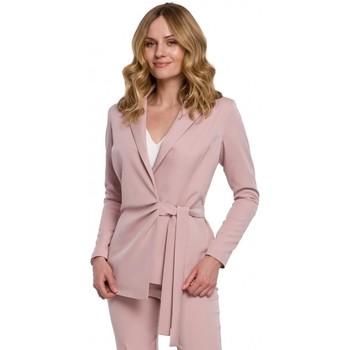 Oblečenie Ženy Oblekové saká Makover K056 Sako s opaskom na zaväzovanie - krepová ružová