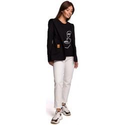 Oblečenie Ženy Saká a blejzre Be B180 Blejzr s kapucňou z bavlneného úpletu - čierny