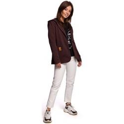 Oblečenie Ženy Saká a blejzre Be B180 Blejzr s kapucňou z bavlneného úpletu - hnedý