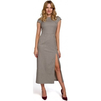 Oblečenie Ženy Dlhé šaty Makover K071 Ginghamové midi šaty - hnedé
